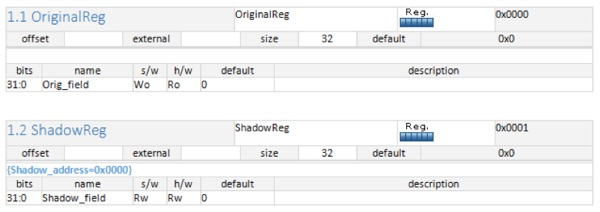 shadow registers in IDesignSpec Word