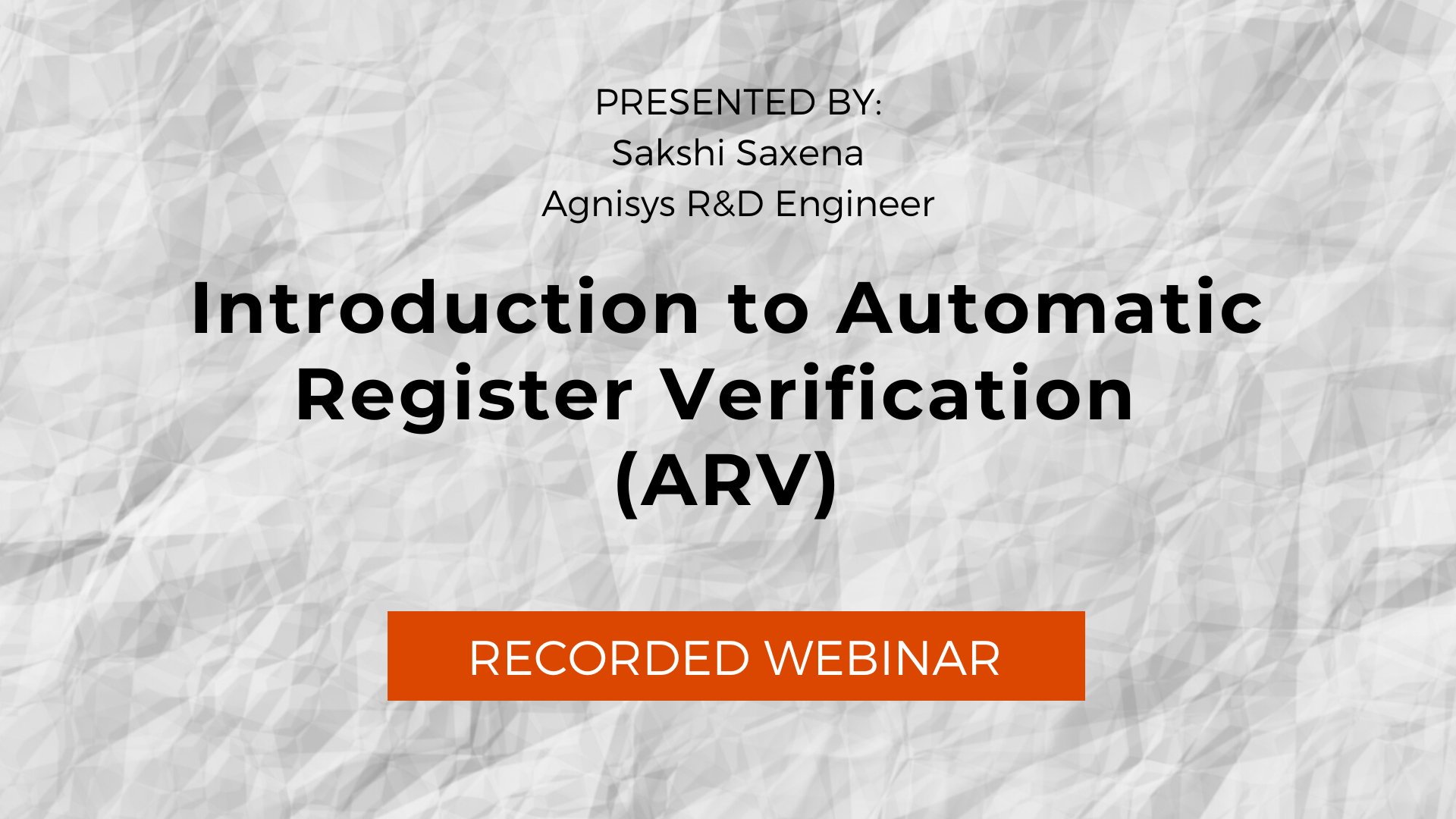 Introduction to Automatic Register Verification (ARV)